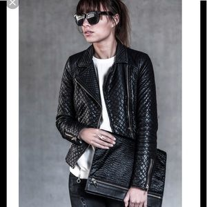 Zara real lambskin leather Quilted jacket m